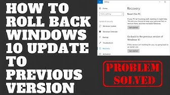 How to Roll Back Windows 10 Update