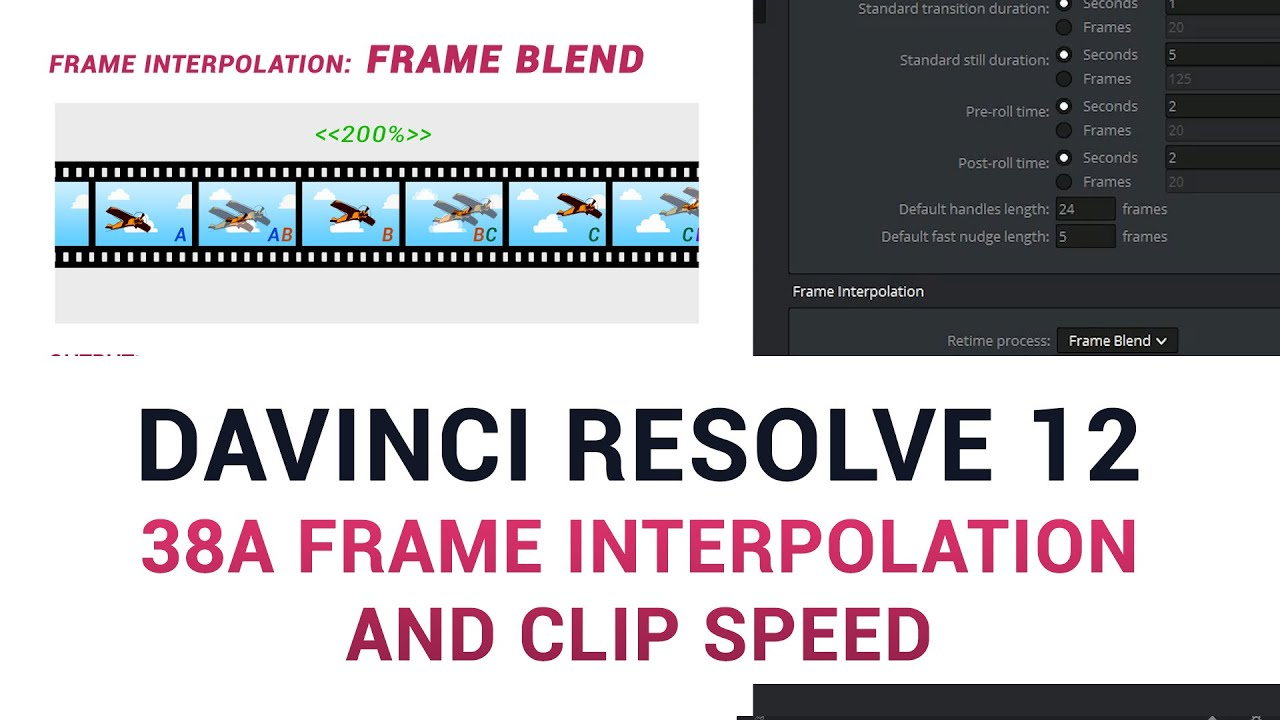 DaVinci Resolve 12 - 38a Frame Interpolation and Clip Speed - YouTube