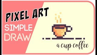 Pixel Art Tutorial : How to draw a cup coffee #Pixelart