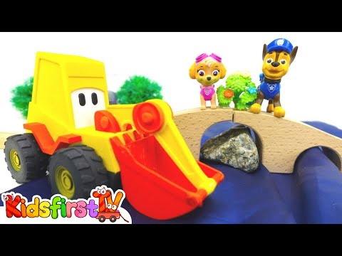 Toy Cars. Excavator Max Builds A Bridge For Paw Patrol Chase And Skye. Toys And Cars On #KidsFirstTV