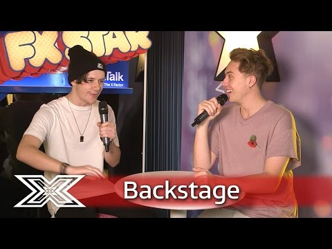 The X Factor Backstage with TalkTalk | Ryan Lawrie discusses Nicole's pint-pulling technique!