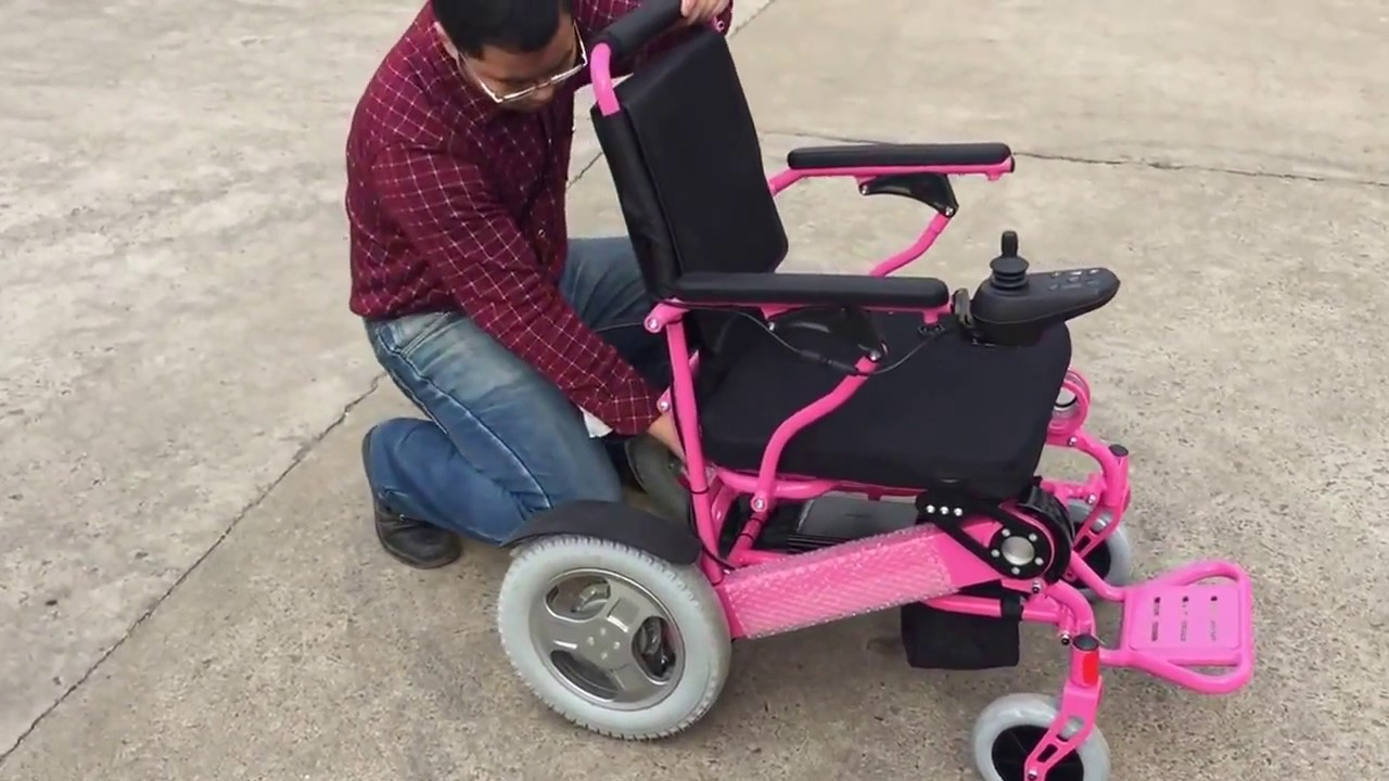 Pink electric wheelchair - Electric Folding Lightweight Wheelchair D09