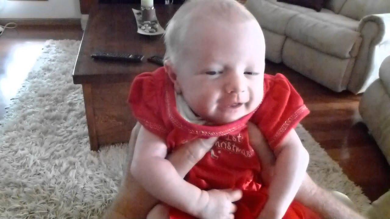 2 week old baby Sophie Smiling
