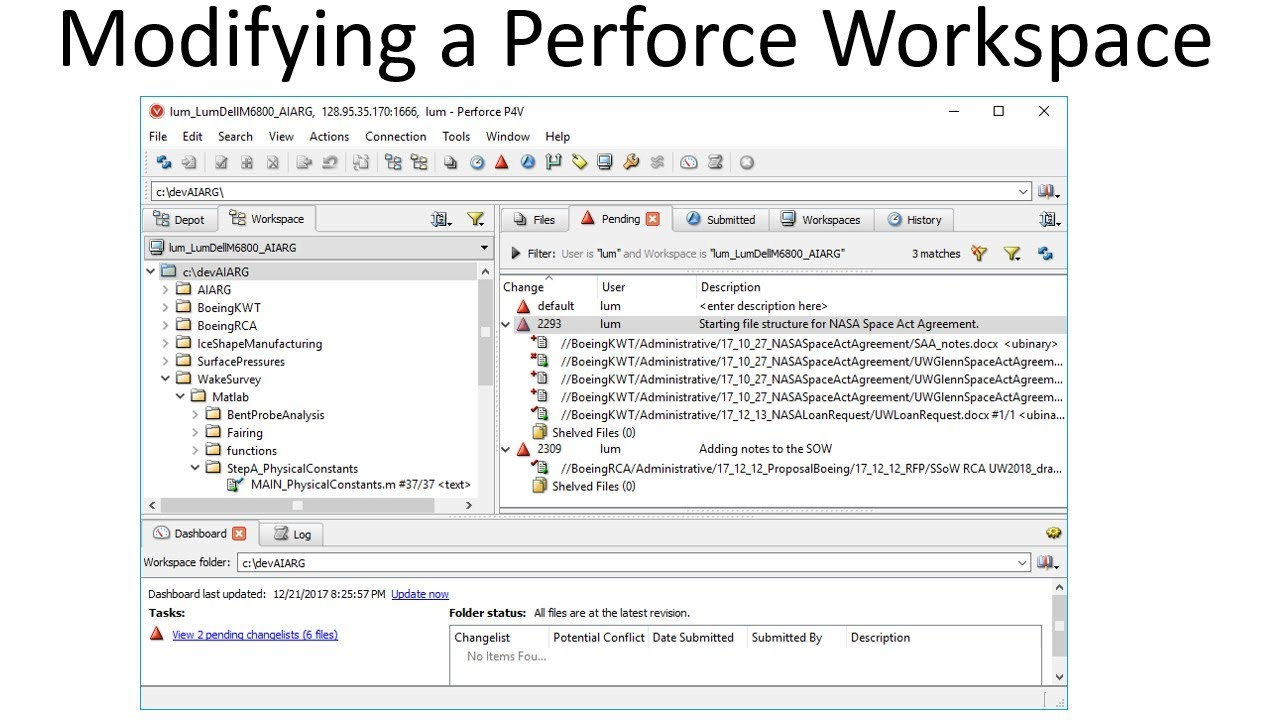 Modifying a Perforce Workspace