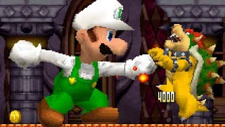 New Super Mario Bros DS - All Castle Bosses with Giant Fire Luigi