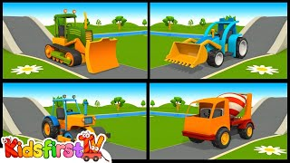 Construction Trucks & Vehicles - 3D Learning Cartoons - Children's Videos (английский для детей)