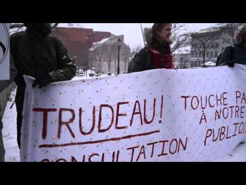 Anti-Pipeline Protest During Justin Trudeau Visit To Montreal City Hall 00053
