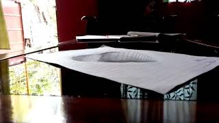 3d heart hole shape drawn with paper......