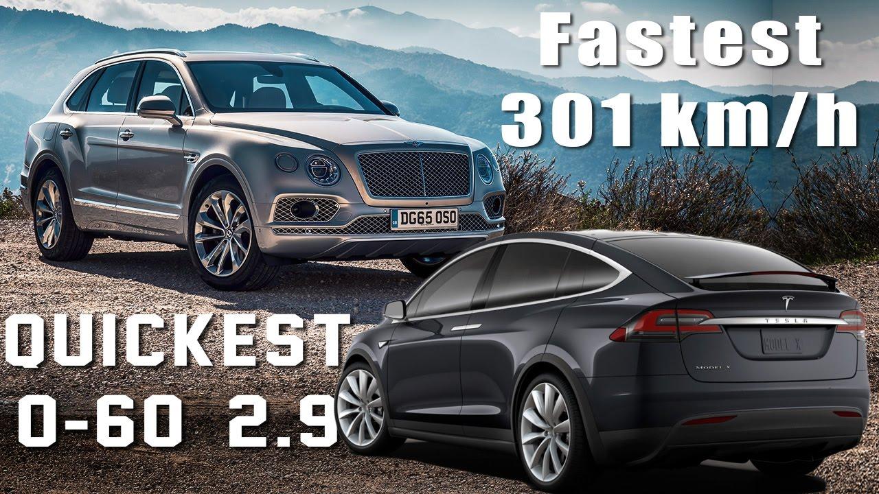 Fastest Vs Quickest Suv Bentley Bentayga Vs Tesla Model X