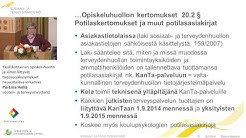 Yksilökohtainen opiskeluhuolto ja siihen liittyvät tietosuojakysymykset, Pia-Liisa Heiliö, STM