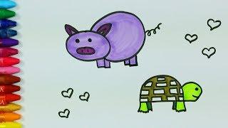 Domuz Çizimi Nasıl Yapılır? 💜 | Kaplumbağa Nasıl Çizilir? | Renklendirme Sayfası