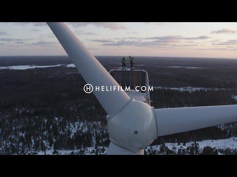 6733. Vindkraftverk (Wind Turbine) Drone Stock Footage Video