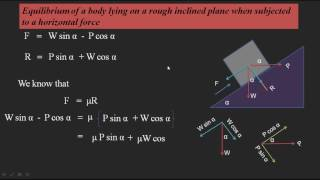 equilibrium of a body on rough inclined plane when subjected to horizontal force
