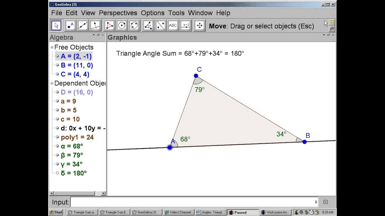 Geogebra video triangle sum and exterior angles youtube - Sum of the exterior angles of a triangle ...
