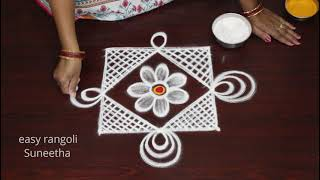 How to draw Vibŗant kolam rangoli designs by easy rangoli Suneetha || Traditional muggulu