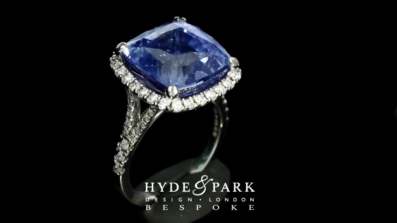 Blue Sapphire Halo Diamond Engagement Ring  Custom Made In London Hatton  Garden