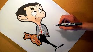 Drawing Mr Bean Cartoon Character. Art Time Lapse Video.