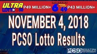 PCSO Lotto Results Today November 4, 2018 (6/58, 6/49, Swertres, STL & EZ2)