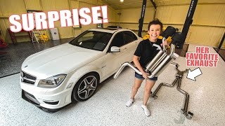 homepage tile video photo for Surprising my wife with a $3,000 ARMYTRIX exhaust for her Mercedes C63 AMG!