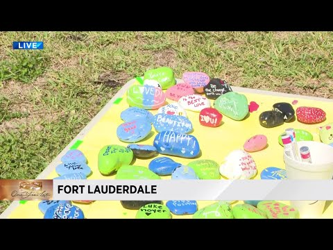 Fort Lauderdale High School students paint messages of hope, unity on rocks