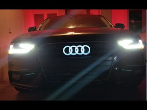 part 1 audi grill logo lights up from front rear light. Black Bedroom Furniture Sets. Home Design Ideas