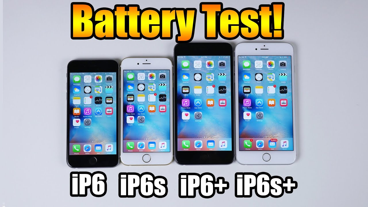 Battery Test! iPhone 6s vs iPhone 6s Plus vs iPhone 6 vs iPhone 6 ...