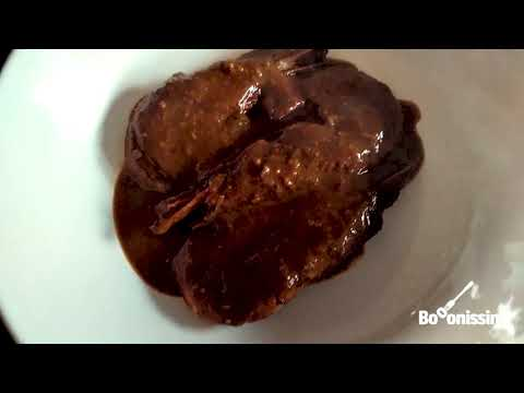 Gambes amb salsa de cacau