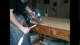 Satin Hand Finish Desk, Desk Restoration London, Satin Furniture London, Antique Desk