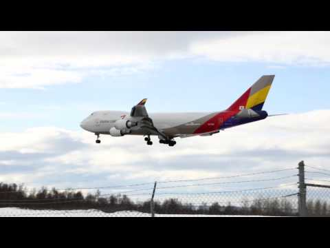 Asiana Cargo Boeing 747-400, Landing to Anchorage International Airport PANC