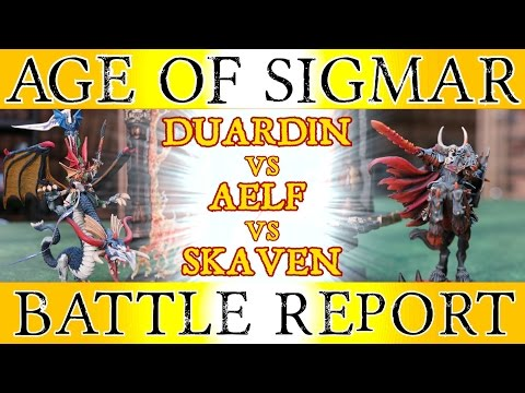 Duardin vs Aelf vs Skaven 3 way - Warhammer Age of Sigmar Battle Report - The Great Crusade, Ep 12
