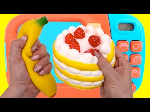 Squishy Banana Cake Play Doh Microwave Learn Colors for Children RL