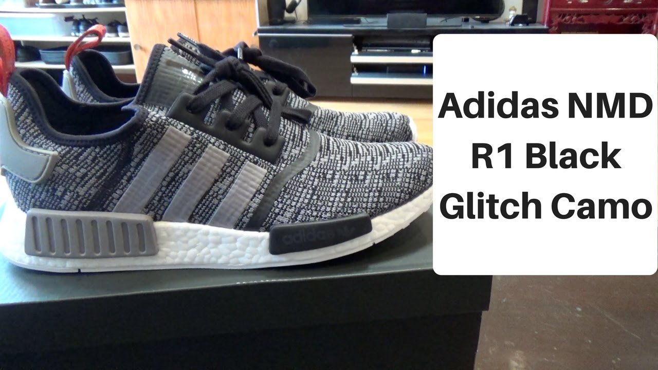 c38ce2b83 Adidas NMD R1 Black Glitch Camo Unboxing  On Foot - YouTube