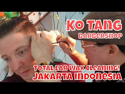 Haircut, Shave & Total Ear Wax Cleaning for $7 | Ko Tang Barbershop Jakarta Indonesia