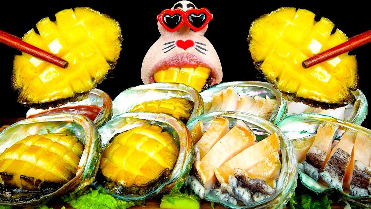ASMR MUKBANG :) Abalone Butter Grill & Abalone Sashimi Eating Show!