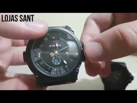 96566e254ab Relógio Masculino Militar Esportivo Naviforce Pulseira Couro