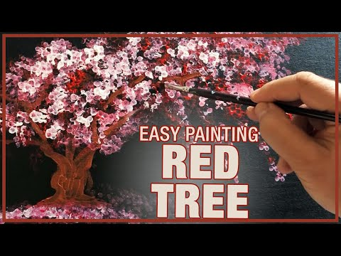 Red Tree Landscape Painting Demo / Day 030 / For Beginners / Daily Art Therapy