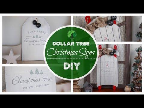 DIY DOLLAR TREE CHRISTMAS DECOR | 2 FARMHOUSE SIGNS