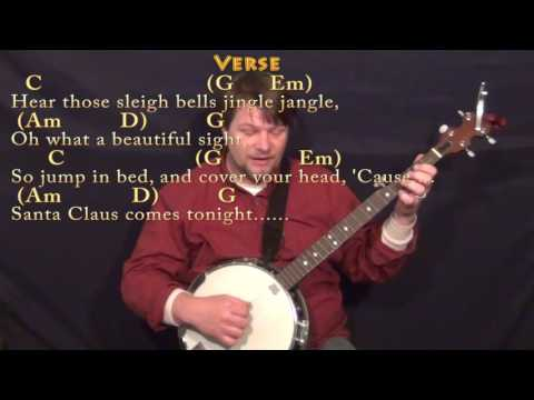 Here Comes Santa Claus (Christmas) Banjo Cover Lesson in G with Chords/Lyrics