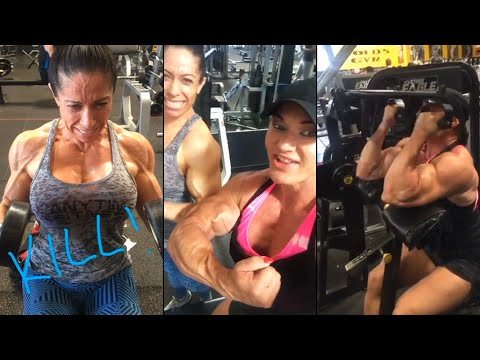 Fbb Huge Biceps Triceps Workout Female Bodybuilder Helle Trevino Youtube