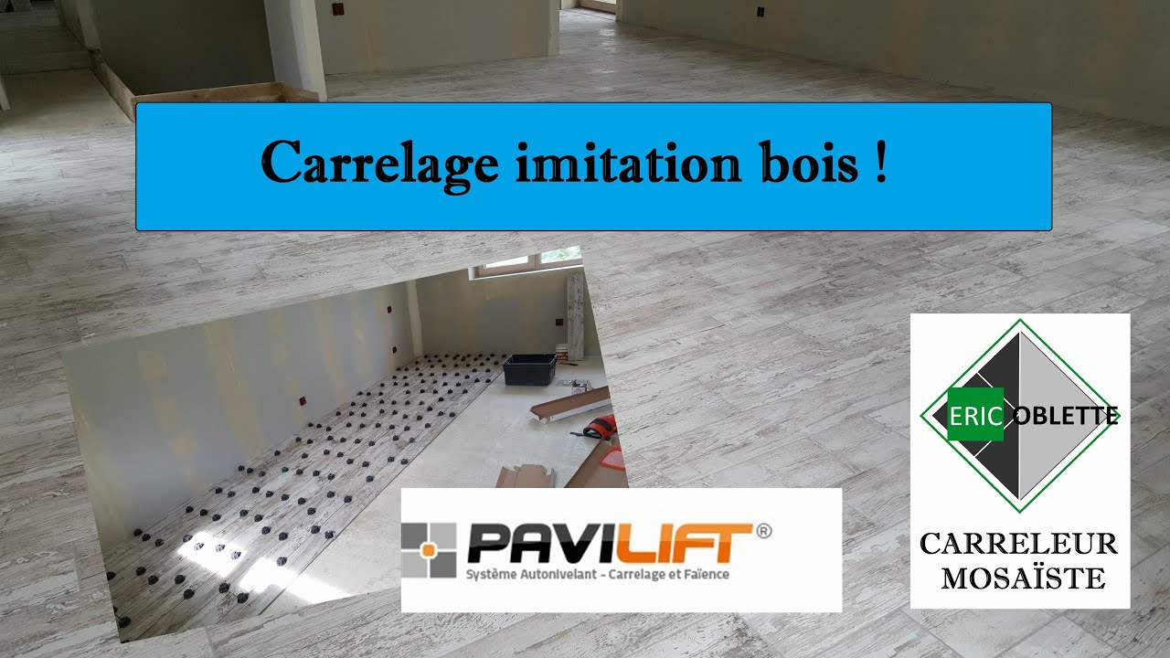 Pose carrelage imitation parquet bois avec syst me pavilift croisillons autonivelant youtube for Carrelage immitation parquet