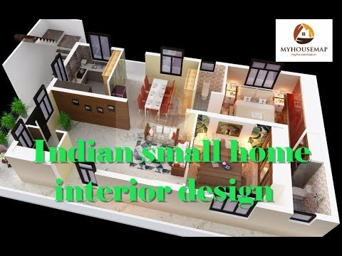 Indian small house interior design 2 bedroom hall kitchen for Two bedroom hall kitchen house plans