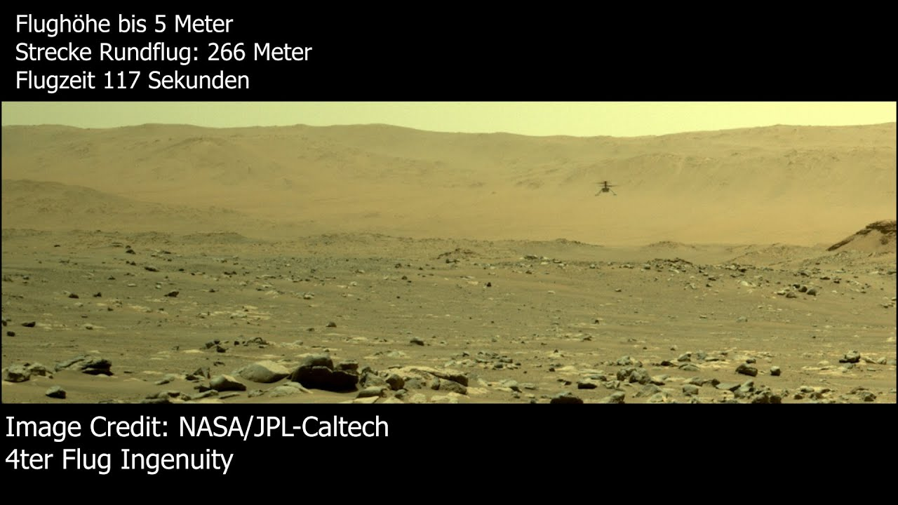 Copter Ingenuity stellt neuen Rekord auf - 266 Meter Flug auf dem Mars