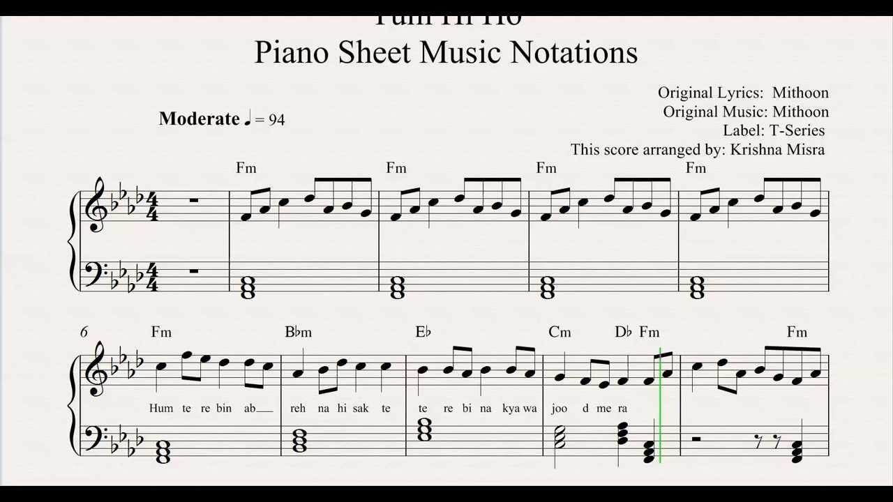 Tum Hi Ho Piano Sheet Music Notations From MusicHorizon - YouTube
