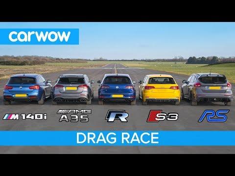 Hot Hatch Race: Focus RS vs AMG A35, BMW M140i, Golf R , Audi S3