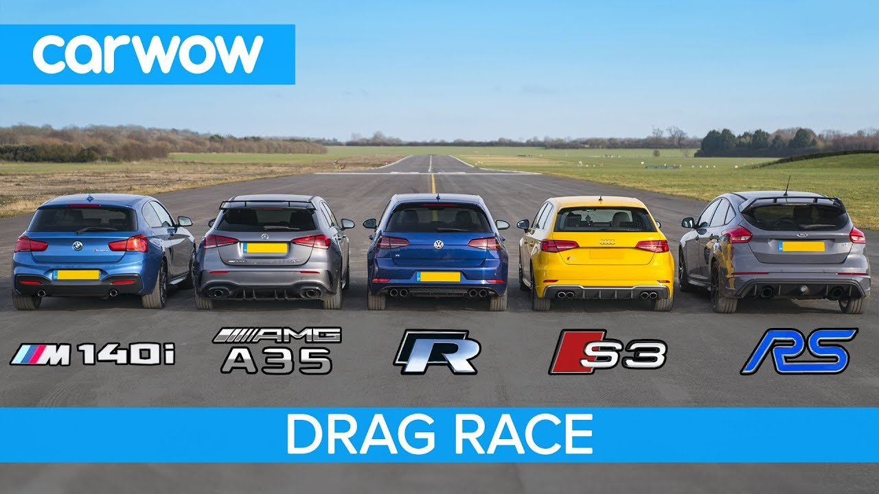 AMG A35 v  BMW M140i  v Golf R v Audi S3 v Focus RS - DRAG RACE, ROLLING RACE & BRAKE TEST