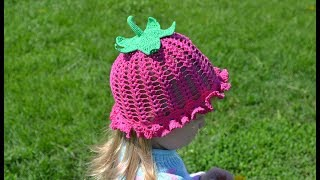 """Шляпка-панамка крючком.  Вяжем плодоножку"" (Hat-panama crochet. Knit stalk)"