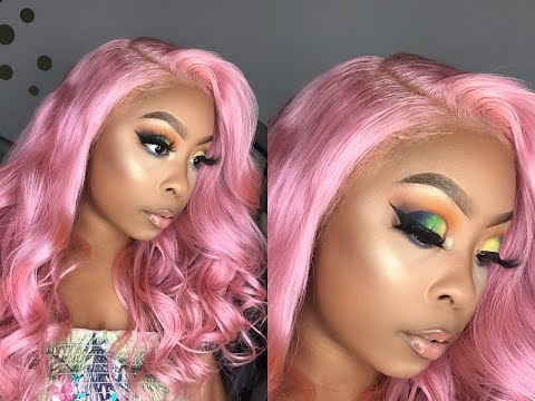 RAINBOW COLORFUL EYE MAKEUP TUTORIAL - Ft. LuHair Pink Body Wave Brazilian Lace Front Wig - 동영상
