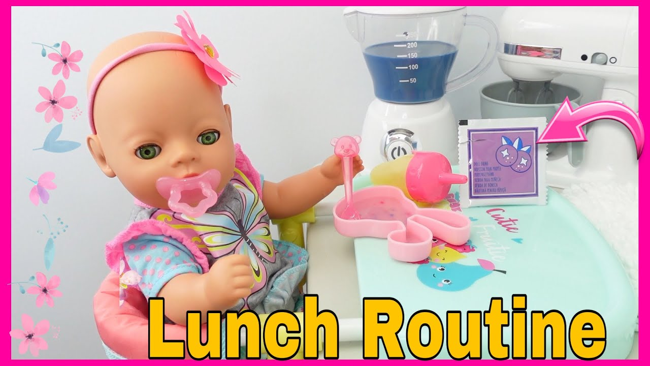 Download Feeding Baby Born Lil girl a Blueberry doll food Packet feeding and changing baby born doll