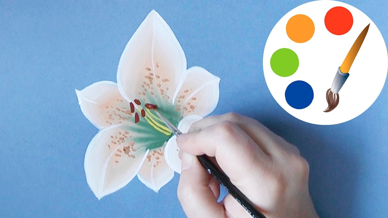 How to paint a lily paint a flower onestroke irishkalia youtube izmirmasajfo