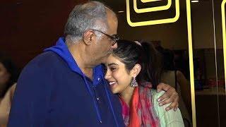 Janhvi Kapoor With Dad Boney Kapoor At A Special Screening